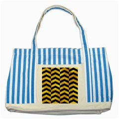 Chevron2 Black Marble & Gold Paint Striped Blue Tote Bag by trendistuff