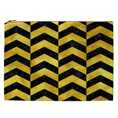 Chevron2 Black Marble & Gold Paint Cosmetic Bag (xxl)  by trendistuff