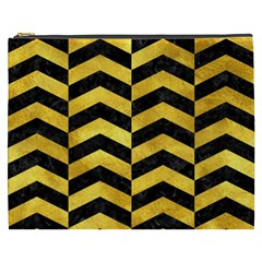 Chevron2 Black Marble & Gold Paint Cosmetic Bag (xxxl)  by trendistuff