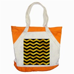 Chevron3 Black Marble & Gold Paint Accent Tote Bag by trendistuff