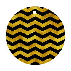 Chevron3 Black Marble & Gold Paint Round Ornament (two Sides) by trendistuff