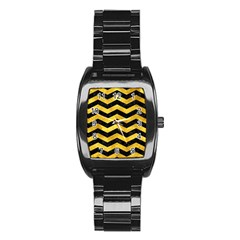 Chevron3 Black Marble & Gold Paint Stainless Steel Barrel Watch by trendistuff