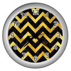 Chevron9 Black Marble & Gold Paint (r) Wall Clocks (silver)  by trendistuff