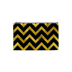 Chevron9 Black Marble & Gold Paint (r) Cosmetic Bag (small)  by trendistuff