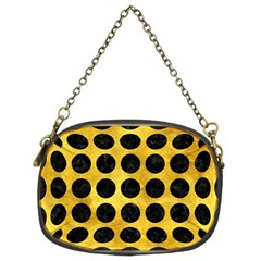 Circles1 Black Marble & Gold Paint Chain Purses (two Sides)