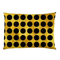 Circles1 Black Marble & Gold Paint Pillow Case (two Sides) by trendistuff