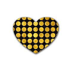 Circles1 Black Marble & Gold Paint (r) Rubber Coaster (heart)