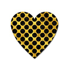 Circles2 Black Marble & Gold Paint Heart Magnet by trendistuff