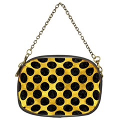 Circles2 Black Marble & Gold Paint Chain Purses (two Sides)  by trendistuff
