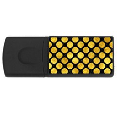 Circles2 Black Marble & Gold Paint (r) Rectangular Usb Flash Drive