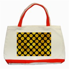 Circles2 Black Marble & Gold Paint (r) Classic Tote Bag (red) by trendistuff