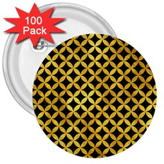 Circles3 Black Marble & Gold Paint (r) 3  Buttons (100 Pack)