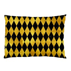 Diamond1 Black Marble & Gold Paint Pillow Case by trendistuff