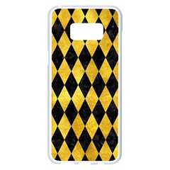 Diamond1 Black Marble & Gold Paint Samsung Galaxy S8 Plus White Seamless Case by trendistuff