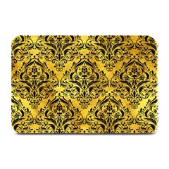 Damask1 Black Marble & Gold Paint Plate Mats by trendistuff