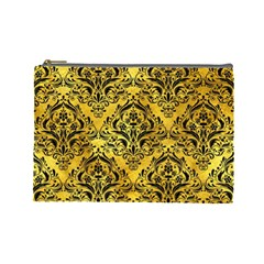 Damask1 Black Marble & Gold Paint Cosmetic Bag (large)  by trendistuff
