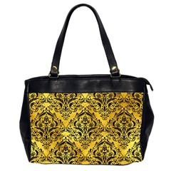Damask1 Black Marble & Gold Paint Office Handbags (2 Sides)  by trendistuff