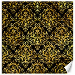 Damask1 Black Marble & Gold Paint (r) Canvas 20  X 20   by trendistuff