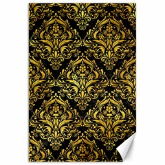 Damask1 Black Marble & Gold Paint (r) Canvas 20  X 30   by trendistuff