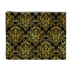 Damask1 Black Marble & Gold Paint (r) Cosmetic Bag (xl) by trendistuff
