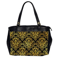 Damask1 Black Marble & Gold Paint (r) Office Handbags (2 Sides)  by trendistuff
