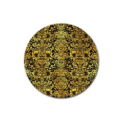 Damask2 Black Marble & Gold Paint (r) Magnet 3  (round) by trendistuff