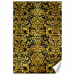 Damask2 Black Marble & Gold Paint (r) Canvas 24  X 36  by trendistuff