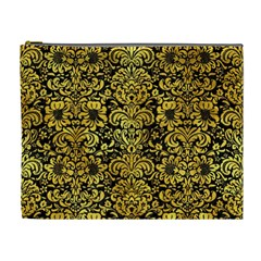 Damask2 Black Marble & Gold Paint (r) Cosmetic Bag (xl) by trendistuff