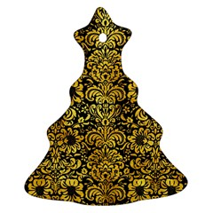 Damask2 Black Marble & Gold Paint (r) Ornament (christmas Tree)  by trendistuff