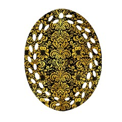 Damask2 Black Marble & Gold Paint (r) Ornament (oval Filigree)