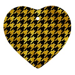 Houndstooth1 Black Marble & Gold Paint Ornament (heart) by trendistuff