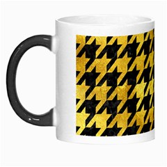 Houndstooth1 Black Marble & Gold Paint Morph Mugs by trendistuff