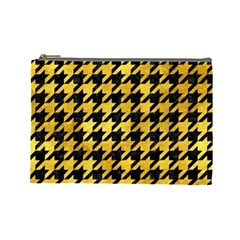 Houndstooth1 Black Marble & Gold Paint Cosmetic Bag (large)  by trendistuff