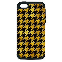 Houndstooth1 Black Marble & Gold Paint Apple Iphone 5 Hardshell Case (pc+silicone) by trendistuff
