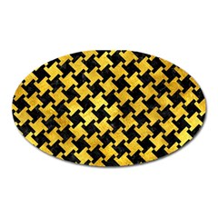 Houndstooth2 Black Marble & Gold Paint Oval Magnet by trendistuff