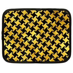 Houndstooth2 Black Marble & Gold Paint Netbook Case (xl)  by trendistuff