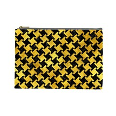 Houndstooth2 Black Marble & Gold Paint Cosmetic Bag (large)  by trendistuff