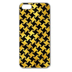 Houndstooth2 Black Marble & Gold Paint Apple Seamless Iphone 5 Case (clear) by trendistuff