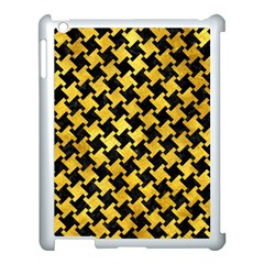 Houndstooth2 Black Marble & Gold Paint Apple Ipad 3/4 Case (white) by trendistuff