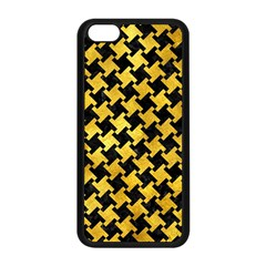 Houndstooth2 Black Marble & Gold Paint Apple Iphone 5c Seamless Case (black) by trendistuff