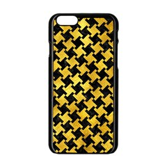 Houndstooth2 Black Marble & Gold Paint Apple Iphone 6/6s Black Enamel Case by trendistuff