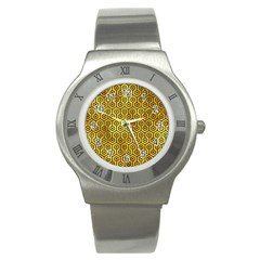 Hexagon1 Black Marble & Gold Paint Stainless Steel Watch by trendistuff