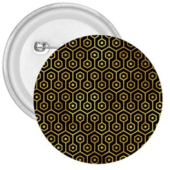Hexagon1 Black Marble & Gold Paint (r) 3  Buttons by trendistuff