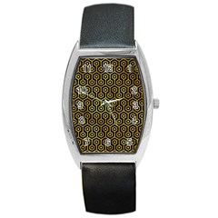 Hexagon1 Black Marble & Gold Paint (r) Barrel Style Metal Watch by trendistuff