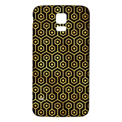 Hexagon1 Black Marble & Gold Paint (r) Samsung Galaxy S5 Back Case (white) by trendistuff