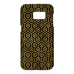 Hexagon1 Black Marble & Gold Paint (r) Samsung Galaxy S7 Hardshell Case