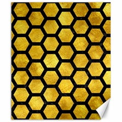 Hexagon2 Black Marble & Gold Paint Canvas 20  X 24   by trendistuff