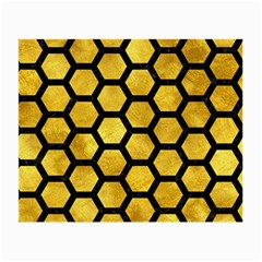 Hexagon2 Black Marble & Gold Paint Small Glasses Cloth (2 Side) by trendistuff