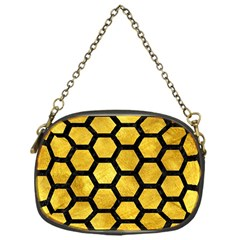 Hexagon2 Black Marble & Gold Paint Chain Purses (one Side)  by trendistuff