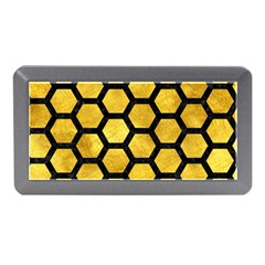 Hexagon2 Black Marble & Gold Paint Memory Card Reader (mini) by trendistuff
